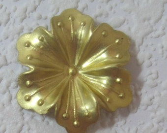 Detailed 38MM 5 Petal Flower Raw Brass Stamping