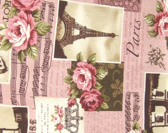 Paris Cotton Fabric, Pink and Brown Cotton Fabric, Vintage Style Fabric, Romantic Style Fabric, By The yard, Pink Roses Cotton Fabric