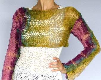 Hand Knit Cropped Sweater, Cropped Shrug, Womens Sweater
