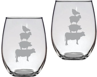 Farm Animals Stacked Glass  FREE Personalization