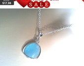 sale - Ocen Blue Simple pendant Necklace - bridesmaid gifts, birthday gift, Mom and sister gift,flower girl