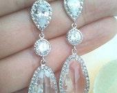 Wedding Jewelry Bridesmaid Gift Bridesmaid Earrings ,Drop, Dangle, AAA cubic zirconia, clear quartz crystal on cz Studs Earrings