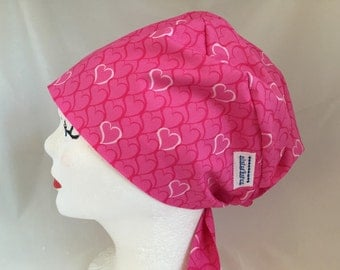 Scrub Hat Pixie Tie Back Style Pink Hearts