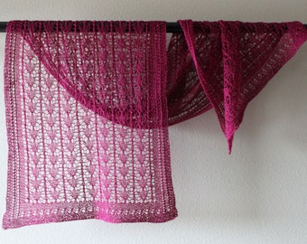 Victorian lace shawl, beautifully hand knitted in a magenta alpaca & silk blend