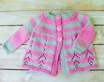 Baby Girl Clothes - Hand Knitted Baby Sweater - Pink and Mint Green Cardigan for Little Girls Size 12 Months