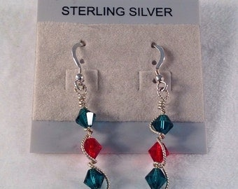 Christmas Earrings- Swarovski Crystals- Sterling Silver- Wire Wrapped- Red- Green