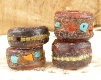 Rustic, Red Tibetan Yak Bone Inlaid Beads (4)