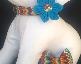 Dog Collar Flower/Bow Tie Set - Colorful Chevron - Size XS, S, M, L, XL