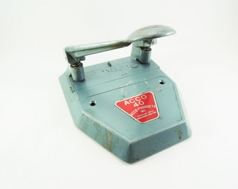 Vintage Hole Punch, ACCO 2 Hole Punch, Green Office Equipment, Retro Office Accessory, Industrial Decor, ACCO Industrial Office Tool