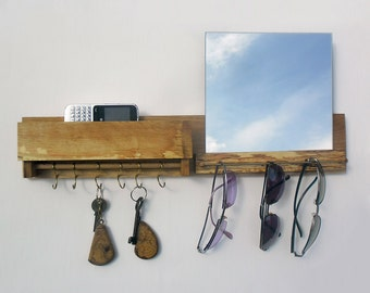 key rack, sunglasses holder with mailbox and mirror, entryway organizer