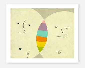 Giclée Fine Art Print, Colorful, Minimal, Pop Surrealism for the Home Decor, 'CONNECTIONS'