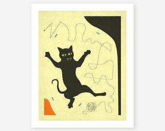 Giclée Fine art Print, Contemporary, Abstract Wall Art, 'Black Cat With String'