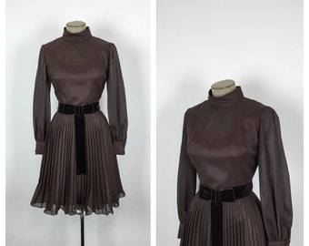60s Brown Fit and Flare Party Dress • 1960s Organdy Cocktail Dress • Velvet Bow Belt • Bishop Sleeve • Small