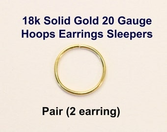 Yellow Gold 18k solid, not plated or filled Hoop Earrings PAIR Cartilage Tragus Helix Nose Ring Small Tiny Catchless Seamless Little Sleeper