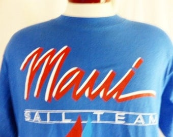aloha vintage 80's Maui Hawaii Sail Team blue crew neck graphic t-shirt travel souvenir red white blue nautical sail boat logo print large