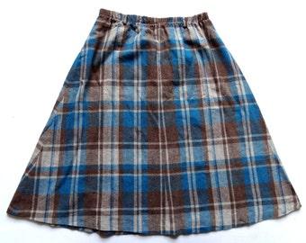 Vintage 70's Wool Check Midi Skirt UK 14