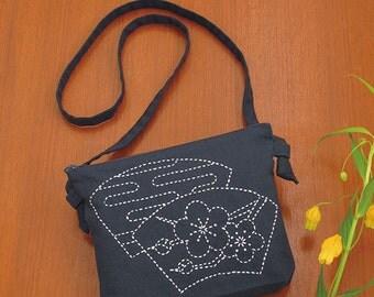 Olympus Pochette Purse Plum Flower Design Sashiko Kit with Cloths and Threads - Traditional Japanese Craft