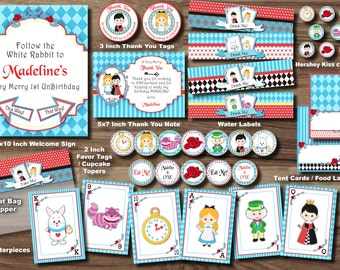 ALICE IN WONDERLAND Party Package - ONEderland Party Package - Queen of Hearts Mad Hatter Tea Party Pack Printable Personalized Girl Theme