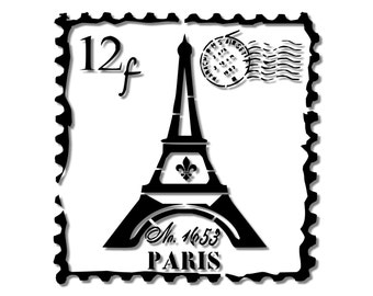 Eiffel Tower Vintage French Postage Stamp French Country Stencil