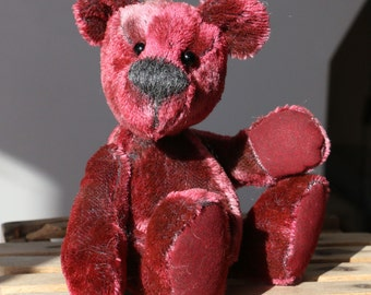 Red Ned is an exceedingly cute and happy, one of a kind, mohair artist teddy bear made from gorgeous vintage mohair by Barbara-Ann Bears