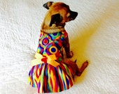 Rainbow-Hued Dog Harness Dress Custom Sizes for Small Dogs - Cotton with Peach Bow & Red Heart-Shaped Button Pet Clothes