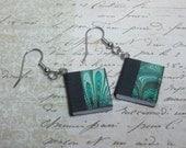 Miniature Book Earrings, Tiny Book Earrings, Book Charm Earrings, Metallic Green Book Earrings, Book Lovers Earrings, Mini Book Earrings