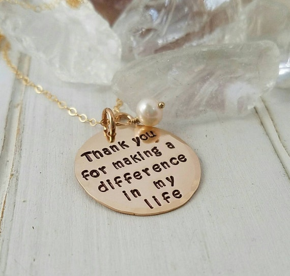 Thank You Necklace, 14kt Gold Filled, Thank you for making a difference in my life, Teacher gift, Personalized Mother necklace, Step mom