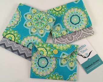 Tampon, Pad & Birth Control Set Holder/Case/Pouch - Teal/Aqua Flowers