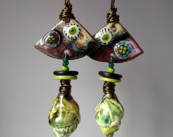 Forest Buds in the Meadow, assemblage earrings, mixed media, torch fired enamel, artisan ceramics, Scorchedearth, lime black, AnvilArtifacts