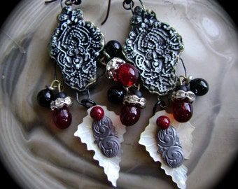 Dark Romance, assemblage earring, antique style, mop jewelry, rhinestone, red black, Gothic, stampings, baroque, mop jewelry, AnvilArtifacts