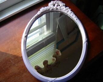 Mirror pink oval mirror syroco mirror 19x13 inch wall mirror nursery home decor regency homco mirror