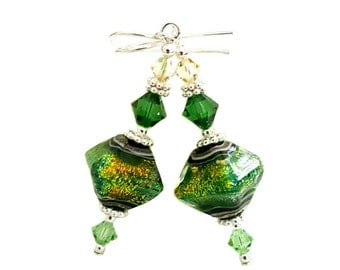 Herbal Garden Shimmer Bicone lampwork bead earrings, Emerald, Peridot  and  Luminous Swarovski Crystals, Sterling Silver