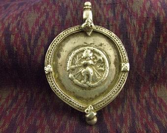 Large Antique Silver Shiva Hindu Amulet