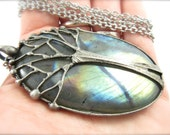 the forest spirit - huge labradorite pendant - tree of life necklace