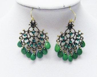 Green Dangles on Gold Plate Earrings