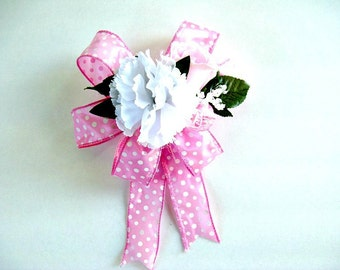Pink and white baby gift bow, It's A Girl gift bow, Gift bow for new moms, Baby girl shower decor, Gift wrap bow, Bow for baby gifts (BG44)