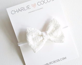 Baby/Girls White Lace Bow Headband, White Lace Hair Bow Clip by charliecocos