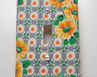 Decorative Switch Plate Cover featuring Vintage Feedsack Fabric