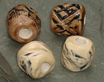 Dreadlock Beads, Dread Beads, Hair Accessories, Large Brown Cream Beads,  Macrame Beads, Ceramic Pottery Beads, Handmade Clay Beads