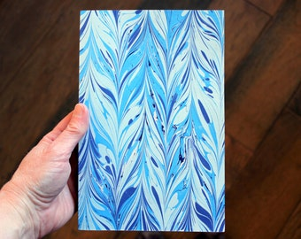Handmade Blank Book - Notebook, Travel Journal, Art Journal - Hand-Marbled Paperback Cover - item #76/100