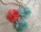 SALE-CUSTOM-Wedding Garter-Coral-Purple-Aqua-Navy-Chiffon-Shabby-Flower-Pearl-Rhinestone-garter belt-Rhinestone Garter-Vintage-Bridal Garter