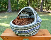 CUSTOM ORDER Crochet Cat Cave Pet Bed Upcycled Wicker Basket  Sage Green and Blues Handmade Littlestsister