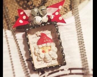 Vintage Inspired Santa Soldered Shadowbox Necklace
