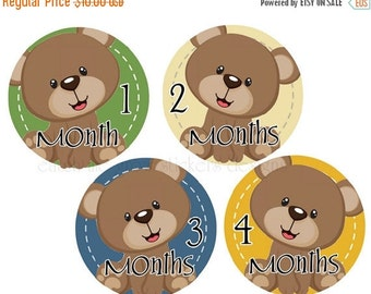 Sale Boy Monthly Stickers Bears Month Stickers Baby Milestone Stickers Monthly Stickers Baby Shower Gift Photo Prop