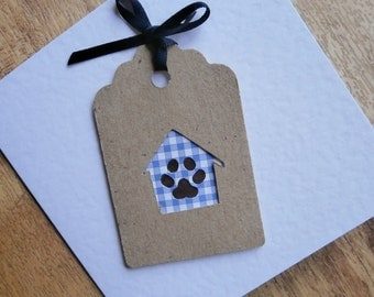 Paw print card.Individually handmade card. Change of Address, new home, or any occasion