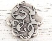 Hamsa Shaped Cabochon Setting Pendant, Antique Silver, 1 piece // SP-263