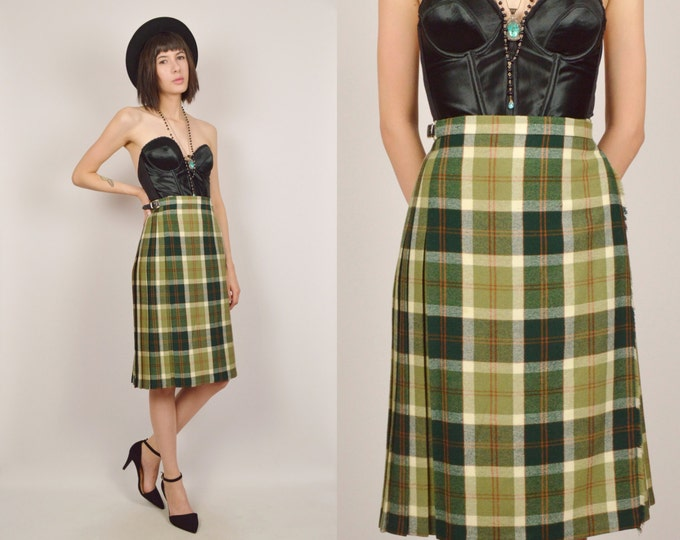 70's Green Plaid High Waisted Midi Skirt