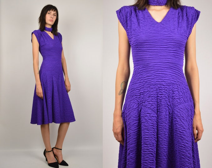 80's Purple Ruched Cocktail Dress Vintage