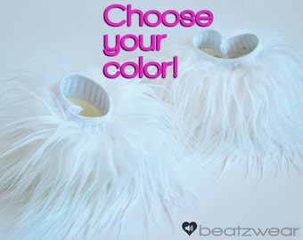 MADE TO ORDER wrist cuffs arm warmers leg warmers rave fluffies accessories single color faux fur
