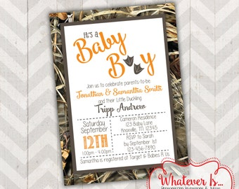 It's A Boy Duck Camouflage Baby Shower Invitation